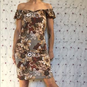 Vintage Earthy Retro Floral Dress